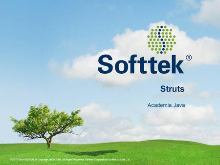 SOFTTEK INTERNAL © Copyright 2000-2008. All Rights Reserved. Valores Corporativos Softtek S.A. de C.V. Struts Academia Java.