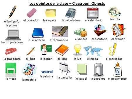 Los objetos de la clase – Classroom Objects