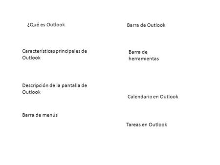¿Qué es Outlook Características principales de Outlook Descripción de la pantalla de Outlook Barra de menús Barra de herramientas Barra de Outlook Calendario.
