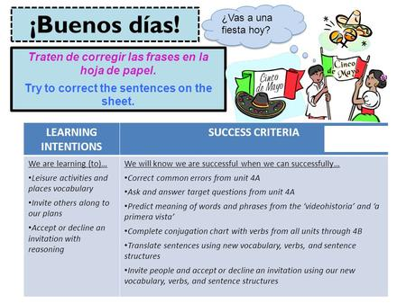 ¡Buenos días! LEARNING INTENTIONS SUCCESS CRITERIA