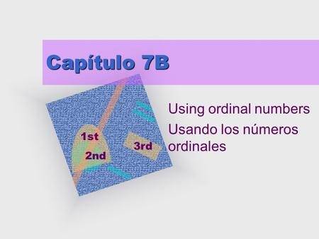 Capítulo 7B Using ordinal numbers Usando los números ordinales 1st 2nd 3rd.