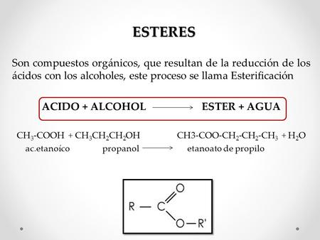 ACIDO + ALCOHOL ESTER + AGUA