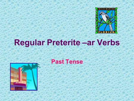 "Regular Preterite –ar Verbs Past Tense. Talking about things in the past: If you want to say ""I went to the store."" instead of ""I go to the store."", you."