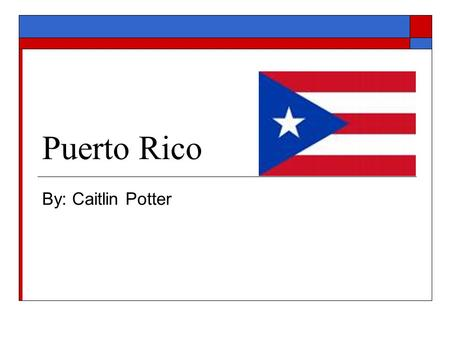 Puerto Rico By: Caitlin Potter. Sustantivo Vida  Españole y Ingles son las idiomas oficiales (Spanish and English are the official languages)  Puerto.