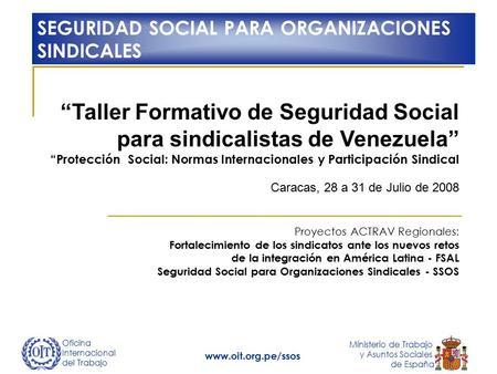 Oficina internacional del trabajo ministerio de trabajo y for Ministerio de seguridad espana