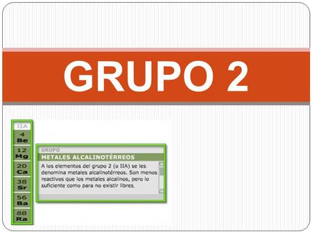 Grupo 2a metales alcalinotrreos berilio be magnesio mg ppt grupo 2 urtaz Choice Image