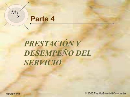 McGraw-Hill© 2000 The McGraw-Hill Companies 1 M S McGraw-Hill © 2000 The McGraw-Hill Companies Parte 4 PRESTACIÓN Y DESEMPEÑO DEL SERVICIO M S.