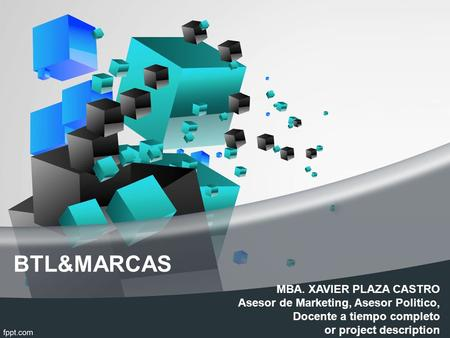 BTL&MARCAS MBA. XAVIER PLAZA CASTRO Asesor de Marketing, Asesor Politico, Docente a tiempo completo or project description.