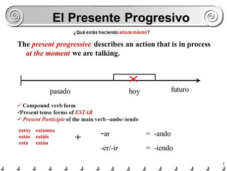 1 El Presente Progresivo ¿Qué estás haciendo ahora mismo? The present progressive describes an action that is in process at the moment we are talking.