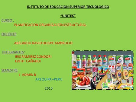 INSTITUTO DE EDUCACION SUPERIOR TECNOLOGICO