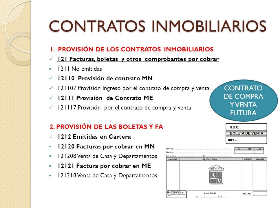 GRAFICA QUE EXPLICA LA CONTABILIZACION DE LA CUENTA 121208: VENTAS FUTURAS- SECTOR INMOBILIARIO En este ejemplo se trata a los que construyen y venden e incluye a los que tercerizan la Obra- Boleta de venta y/o Facturas.