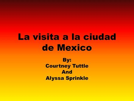 La visita a la ciudad de Mexico By: Courtney Tuttle And Alyssa Sprinkle.