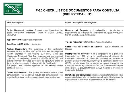 F-25 CHECK LIST DE DOCUMENTOS PARA CONSULTA (BIBLIOTECA) 581 Brief Description:Breve Descripción del Proyecto: Project Name and Location : Expansion and.