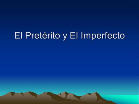 El Pretérito y El Imperfecto. Imperfect: I was speaking, I used to speak hablaba hablabas hablaba hablábamo s hablaban comía comías comía comíamos comí.