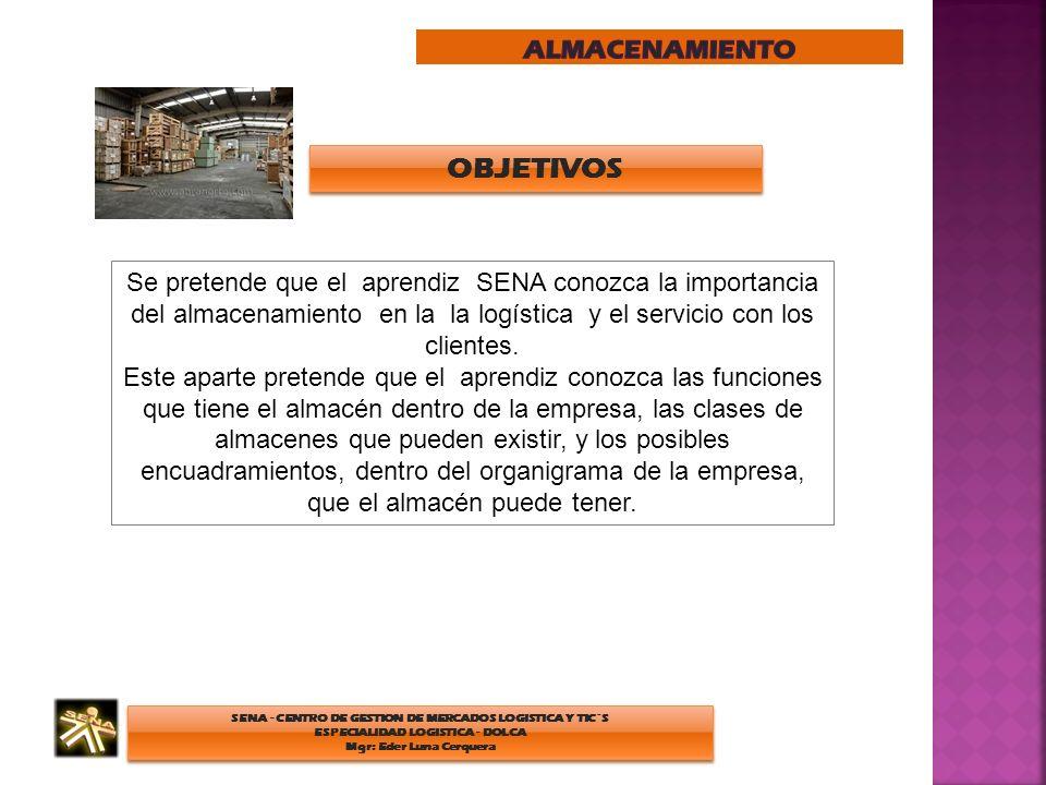 SENA - CENTRO DE GESTION DE MERCADOS LOGISTICA Y TIC´S ESPECIALIDAD LOGISTICA - DOLCA Mgr: Eder Luna Cerquera SENA - CENTRO DE GESTION DE MERCADOS LOGISTICA Y TIC´S ESPECIALIDAD LOGISTICA - DOLCA Mgr: Eder Luna Cerquera INTRODUCCION La gestión adecuada de los almacenes es una condición necesaria para una buena gestión de stocks y servicio al cliente, aspectos básicos de la calidad.