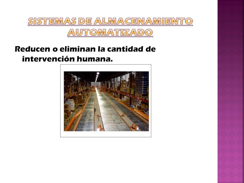 Tipos: Almacenamiento/recuperación automatizados (Automated Storage/Retrieval Systems, AS/RS).
