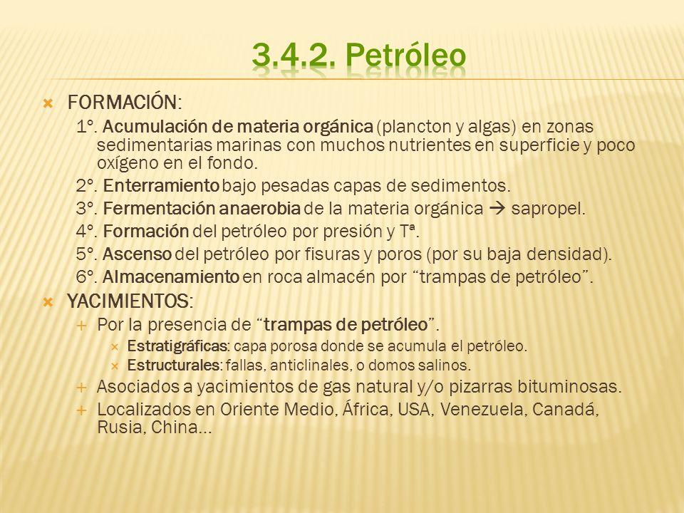 EXTRACCIÓN: es sencilla.Se hace la perforación o pozo y el petróleo sube por presión.