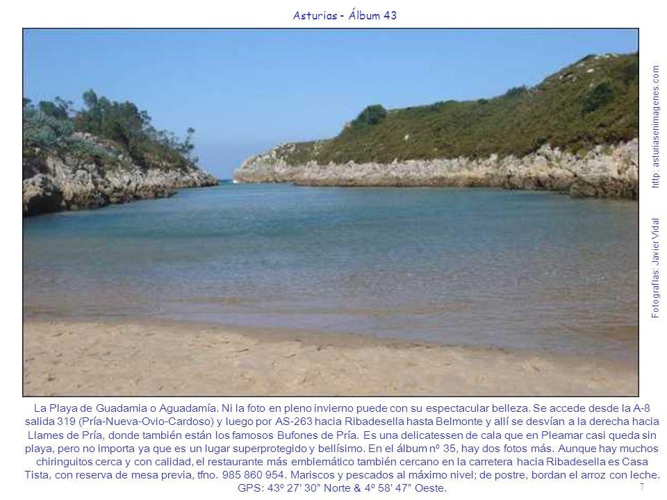 8 Asturias - Álbum 43 Fotografías: Javier Vidal http: asturiasenimagenes.com La Playa de Santa Marina en Ribadesella es otro de los mitos tradicionales del verano astur, la salida más recomendable de la A-8 es la 326 (Ribadesella-Arriondas-Cangas de Onís-Covadonga-Parque Nacional Picos de Europa) y luego 3 Km.
