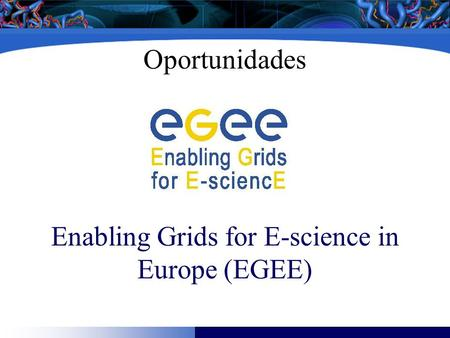 Oportunidades Enabling Grids for E-science in Europe (EGEE)