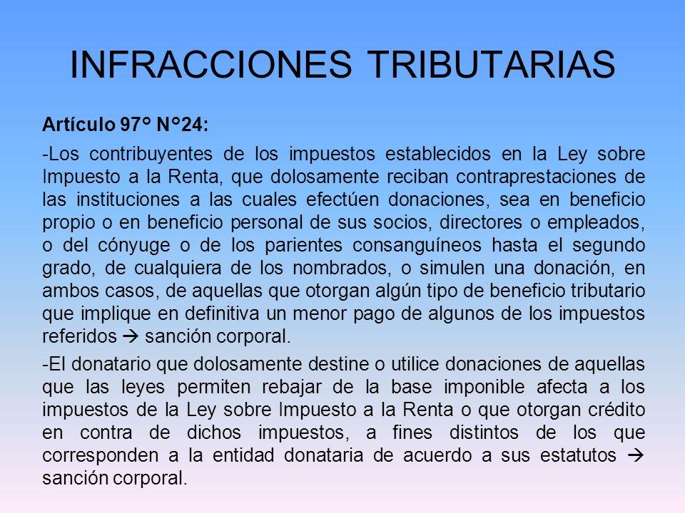 INFRACCIONES TRIBUTARIAS Artículo 97° N°25: -El que actúe como usuario de las Zonas Francas establecidas por ley, sin tener la habilitación correspondiente, o teniéndola, la haya utilizado con la finalidad de defraudar al Fisco sanción pecuniaria y corporal.