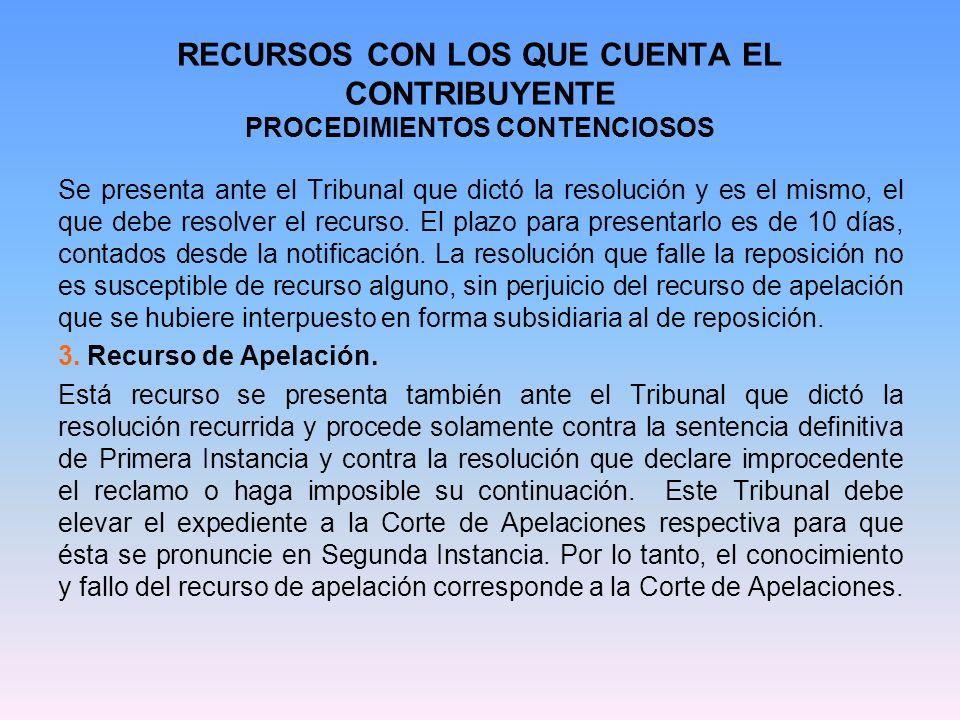RECURSOS CON LOS QUE CUENTA EL CONTRIBUYENTE PROCEDIMIENTOS CONTENCIOSOS 1.2) PROCEDIMIENTO GENERAL DE RECLAMACIONES EN LA NUEVA JUSTICIA TRIBUTARIA: Básicamente los cambios son: Plazo de 90 días para interponer el reclamo.