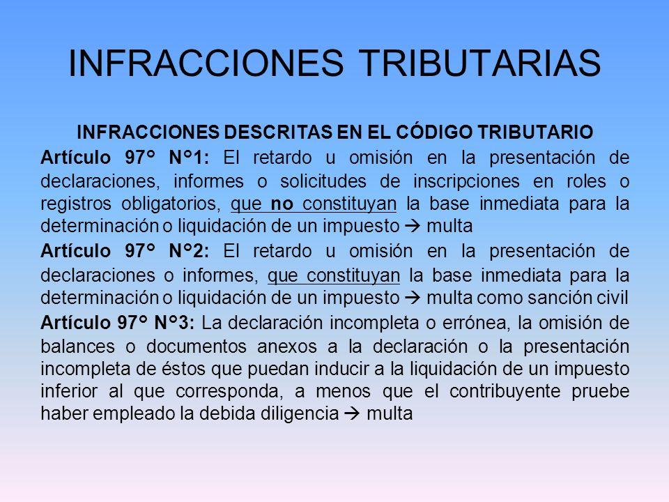 INFRACCIONES TRIBUTARIAS Artículo 97° N°4: -Las declaraciones maliciosamente incompletas o falsas que puedan inducir a la liquidación de un impuesto inferior al que corresponda sanción pecuniaria y corporal.