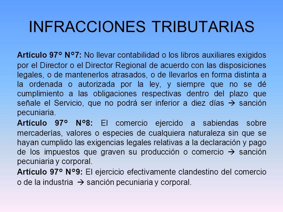 INFRACCIONES TRIBUTARIAS Artículo 97° N°10: -El no otorgamiento de guías de despacho, de facturas, notas de débito, notas de crédito o boletas en los casos y en la forma exigidos por las leyes.
