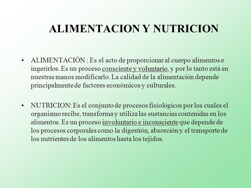 NUTRIENTES DEFINICION: Son los constituyentes de los alimentos, obtenidos por la hidrólisis o por la digestión, y directamente asimilables por la mucosa intestinal.