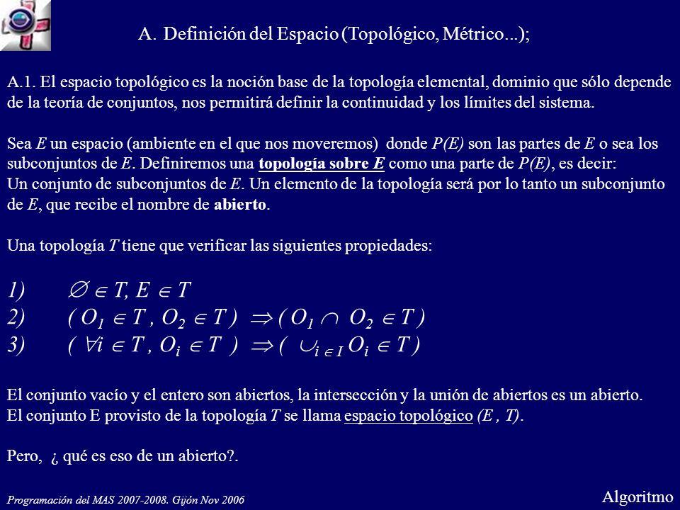Programación del MAS 2007-2008. Gijón Nov 2006 Cont Algoritmo