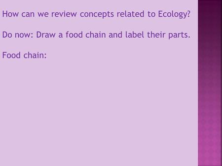 How can we review concepts related to Ecology?