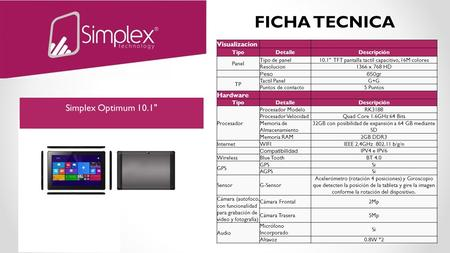 FICHA TECNICA Visualizacion TipoDetalleDescripción Panel Tipo de panel10.1 TFT pantalla tactil capacitivo, 16M colores Resolucion1366 x 768 HD Peso650gr.