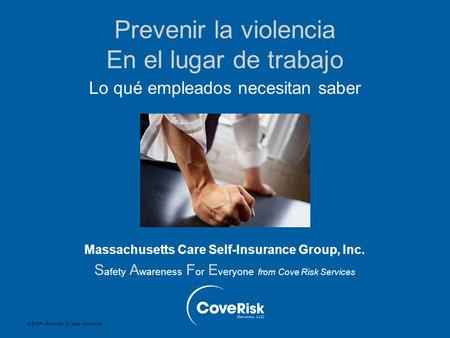 © BLR ® —Business & Legal Resources Prevenir la violencia En el lugar de trabajo Lo qué empleados necesitan saber Massachusetts Care Self-Insurance Group,
