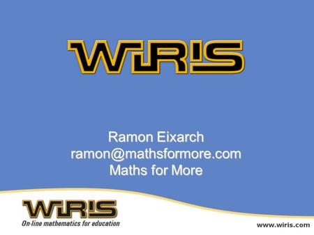 Ramon Eixarch Maths for More.