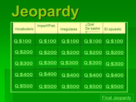 Jeopardy Vocabulario Imperf/Pret. Irregulares ¿Qué De`sastre ?``````````` ````````````` ````````````` ````````````` ````````````` ````````````` `````````````