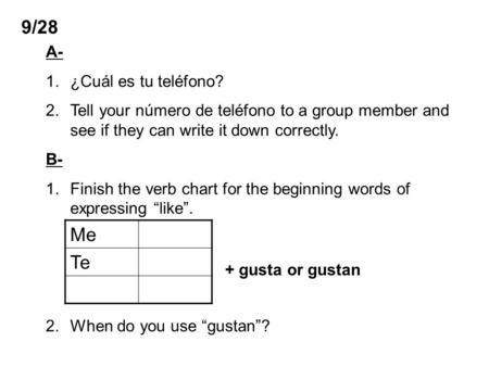 9/28 A- 1.¿Cuál es tu teléfono? 2.Tell your número de teléfono to a group member and see if they can write it down correctly. B- 1.Finish the verb chart.