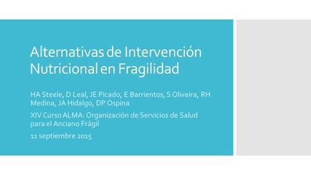 Alternativas de Intervención Nutricional en Fragilidad
