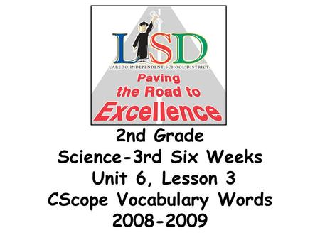 2nd Grade Science-3rd Six Weeks Unit 6, Lesson 3 CScope Vocabulary Words 2008-2009.
