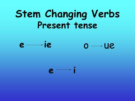 "Stem Changing Verbs Present tense e ie e i o ue. REPASO Infinitive: a verb that ends in AR, ER, or IR Stem: the part of the verb before the ""ar"" ""ir"""