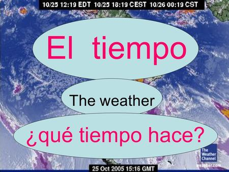 El tiempo The weather ¿qué tiempo hace?. Hace sol. El sol = the sun ¡Me encanta la playa! = I love the beach! It is sunny!