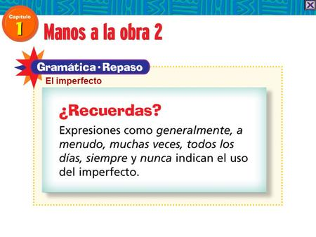 "El imperfecto Use the imperfect tense to talk about actions that happened regularly. In English you often say ""used to"" or ""would"" to express this idea."