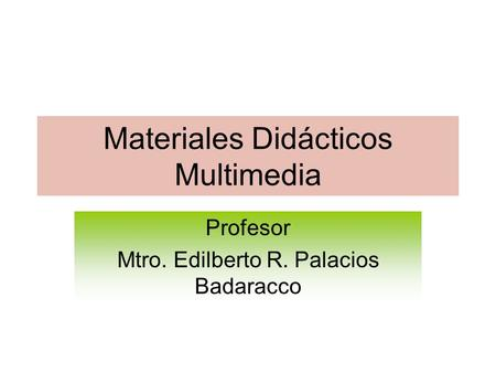Materiales Didácticos Multimedia