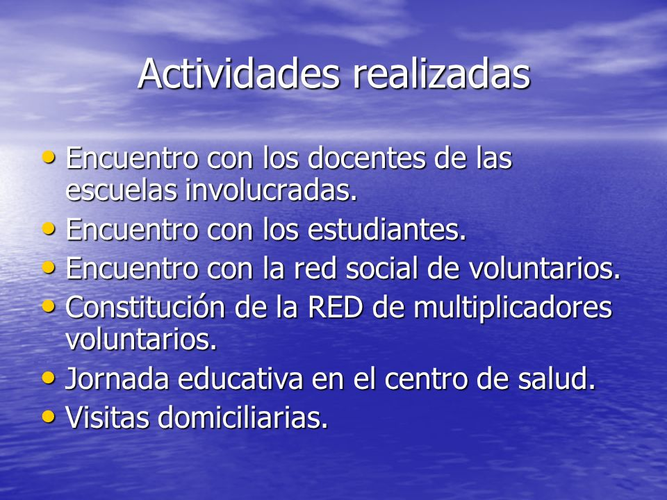 Actividades por realizar Acto-jornada con motivo del día mundial de la lucha contra el SIDA.