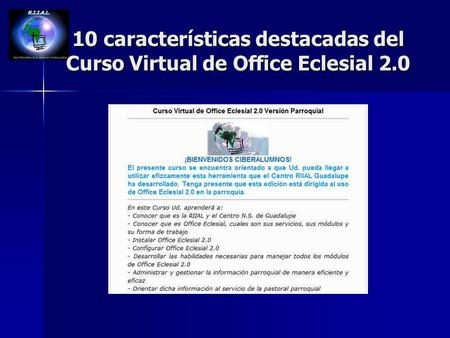 10 características destacadas del Curso Virtual de Office Eclesial 2.0.