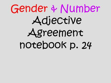 Gender & Number Adjective Agreement notebook p. 24.