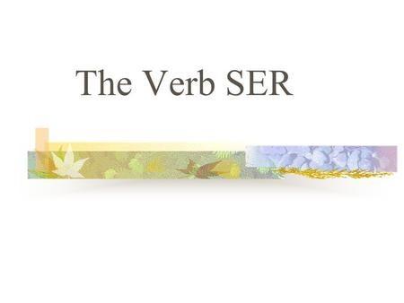 "The Verb SER SER The verb SER means ""to be"" In Spanish, a verb has different forms to tell you who the subject is. Changing a verb form so that it matches."