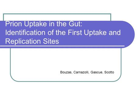 Prion Uptake in the Gut: Identification of the First Uptake and Replication Sites Bouzas, Carnazolli, Gascue, Scotto.
