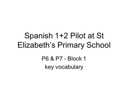 Spanish 1+2 Pilot at St Elizabeth's Primary School P6 & P7 - Block 1 key vocabulary.