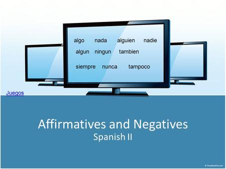 Affirmatives and Negatives Spanish II algonadaalguiennadie algunninguntambien tampocosiemprenunca Juegos.