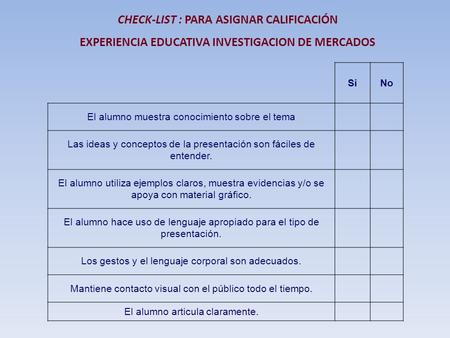 CHECK-LIST : PARA ASIGNAR CALIFICACIÓN