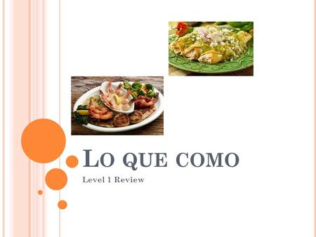 L O QUE COMO Level 1 Review. R EPASO : To make nouns plural: You usually add –s to words ending in a vowel. Por ejemplo: Manzana  Manzanas Taco  Tacos.